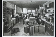 Marking and packing workshop at the Louis Vuitton London Store, 149 New Bond Street, 1902