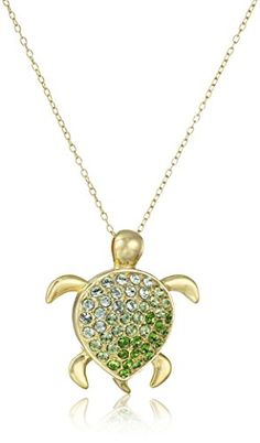 """18k Gold Plated Sterling Silver Swarovski Green Ombre Turtle Pendant Necklace, 18"""" Amazon Collection-$28.35 http://www.amazon.com"""
