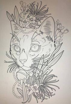 Эскиз татуировки с котом