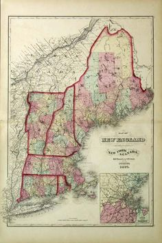 Map of New England, New York, & Canada. 1871