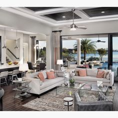 By Arthur Rutenberg Homes - Like how the coffered ceiling is painted, would shoot for more medium gray?