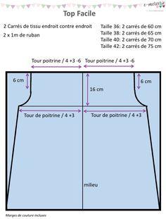 Top facile - Tuto Couture PDF et vidéo Girl Dress Patterns, Blouse Patterns, Skirt Patterns, Maxi Dress Tutorials, Fleece Hats, Blog Couture, Diy Blog, Top Videos, Pattern Drafting