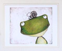 Art Print Frog Snail Friends illustration by staceyyacula on Etsy,
