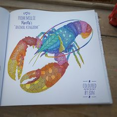Rainbow Lobster Done For Competition In A Facebook Group Tire Du Livre Forettropicale Animalkingdomcolouringbook De Milliemarotta