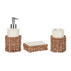 White Ceramic And Rattan Bath Accessory Set