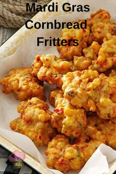Mardi Gras Cornbread Fritters - My Recipe Magic dishYou can find Cajun recipes and more on our website.Mardi Gras Cornbread Fritters - My Recipe Magic dish Beignets, Healthy Recipes, My Recipes, Cooking Recipes, Donut Recipes, Drink Recipes, Bread Recipes, Chicken Recipes, Recipies