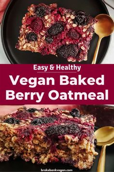 This vegan baked berry oatmeal is a nutritious and delicious way to start the day. It's perfectly sweet, full of crunchy pecans, and packed with antioxidant-rich berries. What more could you ask for? #bakedoatmeal #bakedberryoatmeal #veganbakedoatmeal Clean Eating Recipes For Dinner, Healthy Breakfast Recipes, Vegetarian Recipes, Healthy Recipes, Clean Breakfast, Breakfast Ideas, Vegan Baking, Vegan Food, Baked Oats