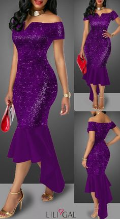 Sequin Embellished Purple Off the Shoulder Sheath Dress # - Sparkle Phone Cases - Sparkle Iphone Cases for sales - - Sequin Embellished Purple Off the Shoulder Sheath Dress African Maxi Dresses, Latest African Fashion Dresses, African Dresses For Women, African Attire, Elegant Dresses, Casual Dresses, Dinner Gowns, Classy Dress, Purple Dress