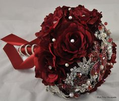 Red Sienna Rose Brooch Bouquet #wedding #bouquet