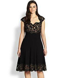Tadashi Plus Size Lace Cocktail Dress