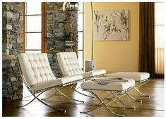 Barcelona Chairs (White) by Design Within Reach