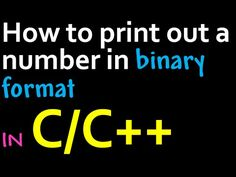 How to convert an integer to Binary in C/C++