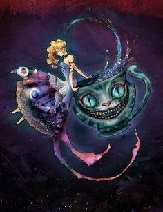 Just the teacup cat as a tattoo on top of my foot. *CHESHIRE CAT & ALICE ~ Alice in Wonderland.A Curious Cat by ~carlzeno on deviantART Disney Love, Disney Art, Dark Disney, Cat Alice, Disney Kunst, Chesire Cat, Art Manga, Alice Madness, Curious Cat