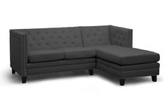 Parkis Gray Linen Button Tufted Sectional Sofa | Affordable Modern Furniture in Chicago