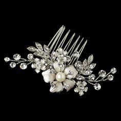 Rhodium Clear Rhinestone & Ivory Pearl Petite Flower Comb 63
