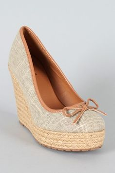 Qupid Warren-03 Linen Bow Espadrille Wedge $27.90
