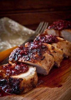 Delicious Shots: Pork Tenderloin with Raspberry sauce. I love pork tenderloin Pork Tenderloin Recipes, Pork Recipes, Cooking Recipes, Sauce For Pork Tenderloin, Sauce Recipes, Recipies, Food Porn, Raspberry Sauce, Beef Recipes