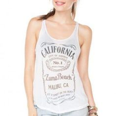Brandy Melville California Zuma Beach Tank In fantastic condition! No major flaws. Zuma beach/ California tank in white. One size. Brandy Melville Tops Tank Tops