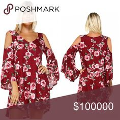 Beautiful in 🌹 roses bell sleeve tunic/dress!💕💕 This comfy and casual piece is made in a comfy quality rayon jersey fabric. It features trending bell sleeves, a v-neck, and swing fit. True to size length 34 Dresses