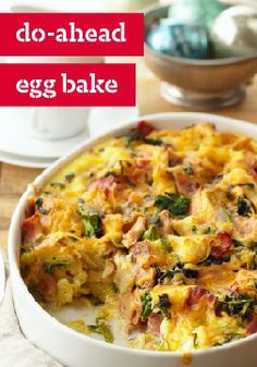 Do-Ahead Egg Bake — The tempting combo of spinach, cheese and bacon creates magic yet again in this crowd-pleasing egg bake recipe. Breakfast Items, Breakfast Dishes, Breakfast Recipes, Breakfast Casserole, Brunch Egg Dishes, Brunch Recipes, Brunch Foods, Brunch Ideas, Kraft Recipes