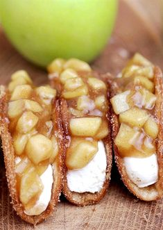 166 reviews · 45 minutes · Vegetarian · Serves 30 · Apple Cheesecake Tacos – crunchy cinnamon sugar tortilla shells, filled with cheesecake filling and covered with homemade apple pie filling are simply perfect dessert.