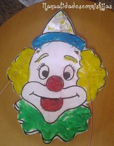 Manualidades con mis hijas: Careta de payaso y plastilina. kids crafts. Clown. playdough