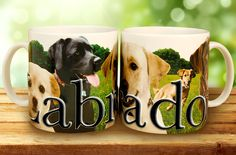 Labrador Relief Mug - beautifully decorated with graphic color images and 3D relief lettering.