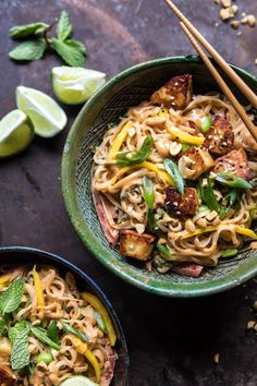 Better Than Takeout 20 Minute Peanut Noodles with Sesame Halloumi   halfbakedharvest.com #quick #easy #noodles #Thai #recipes