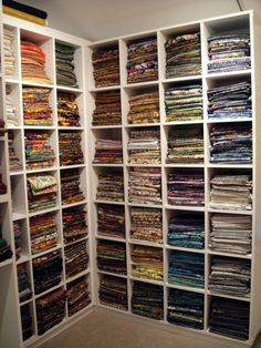 My Dream Fabric Stash.but the colors would be way brighter and cheerful! Sewing Room Design, Sewing Room Storage, Sewing Spaces, Sewing Room Organization, Craft Room Storage, My Sewing Room, Sewing Rooms, Sewing Studio, Fabric Storage