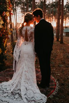 a romantic lace mermaid wedding dress with a cutout back, bell sleeves and a train for a summer woodland wedding Wedding Picture Poses, Wedding Photography Poses, Wedding Poses, Wedding Photoshoot, Wedding Dresses, Wedding Ideas, Photoshoot Ideas, Photographer Wedding, Wedding Pictures