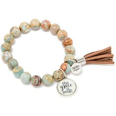 Never Lose Hope Stretch Bracelets (29 CAD) ❤ liked on Polyvore featuring jewelry, bracelets, beaded bangles, beaded jewelry, charm jewelry, beading jewelry and charm bangle