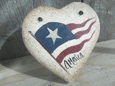 Primitive Salt Dough Heart July 4th by cookiedoughcreations