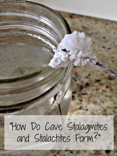 A simple science experiment for kids on how stalactites and stalagmites are formed!  All you need is baking soda!  http://www.howweelearn.com/how-are-stalactites-formed/