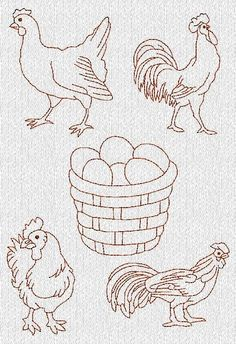 Rooster Chicken Redwork Machine Embroidery Designs
