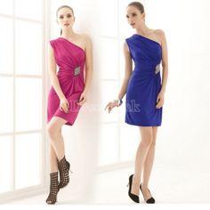 $ 6.84 Sheath One-shoulder Paisley Asymmetric Sexy Party Dress 2Colors