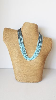 Baby blue and charcoal necklace light blue by StephanieMartinCo
