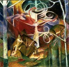 Franz Marc - The Deer in forest
