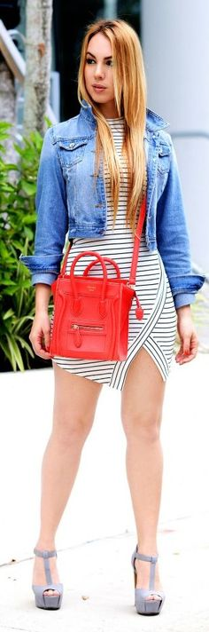 Denim, Stripes And Red Outfit by Chic Fashion World