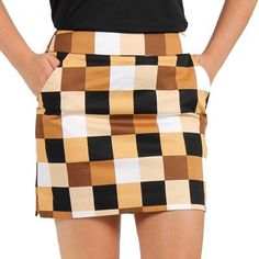 Loudmouth Golf Skort Checkmate, don't be fooled with its earthy-tones; done the right way, this can be just as eye catching as some of Loudmouth's wildest prints. | #Golf4Her #GolfClothes