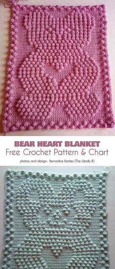 Crochet patterns baby blankets ganchillo Ideas for 2019 Crochet Heart Blanket, Crochet Baby Blanket Free Pattern, Baby Afghan Crochet, Manta Crochet, Crochet Bear, Free Crochet, Crochet Throws, Bear Blanket, Pink Baby Blanket