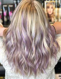 Lilac & Platinum Balayage Hair Color Highlights for 2019 Purple Hair Tips, Ash Grey Hair, Light Purple Hair, Purple Hair Highlights, Lilac Hair, Purple Highlights Blonde Hair, Hair Color Balayage, Colored Highlights, Lavender Hair