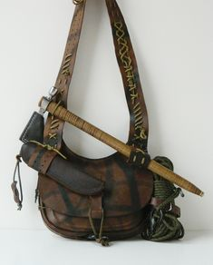 Possibles Bushcraft bag by Gillie Leather all Gillied Up wit.-Possibles Bushcraft bag by Gillie Leather all Gillied Up with gear. Possibles Bushcraft bag by Gillie Leather all Gillied Up with gear.