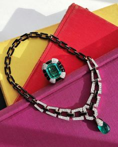 @davidwebbjewels. Back in New York from Doha, and dreaming of emerald and black enamel.