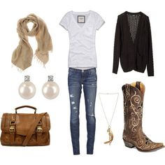 country girl outfits, lovin the color combo and super comfy lookin Outfit Jeans, Mode Country, Estilo Country, Country Style, Country Boots, Country Wear, Country Girl Outfits, Country Fashion, Rodeo