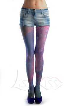 BESTSELLER! Galaxy - Multicoloured Printed Tattoo Opaque Pantyhose (Tights) $15.99