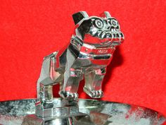 Vintage Mack Truck Bull Dog Metal Decorative Ashtray Retro Chrome Metal Art DECO