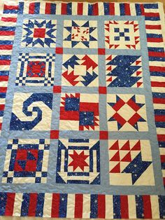 QOV #9 Block of the Week 2015 - Quilt of Valor by Maxine.  The white is true white - my pic looks a little yellow. Quilted with stars meandering. 11/9/2015  The Resort Quilt Club By Dawn - Dec. 2015
