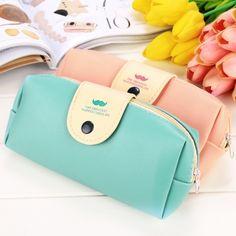 Korean Girl Portable Synthetic Leather Makeup Cosmetic Pen Pencil Case Organizer Pouch Bag Box