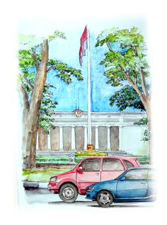 Sketsa Istana Negara Atau Lebih Tepatnya Istana Merdeka Yang Terletak Dijalan Medan Merdeka Utara Jakarta Lukisan Cat Air Ilustrasi Lukisan Cara Menggambar