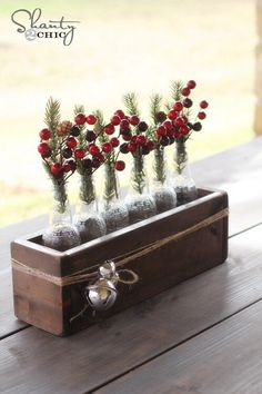 Christmas center piece made with beer bottles